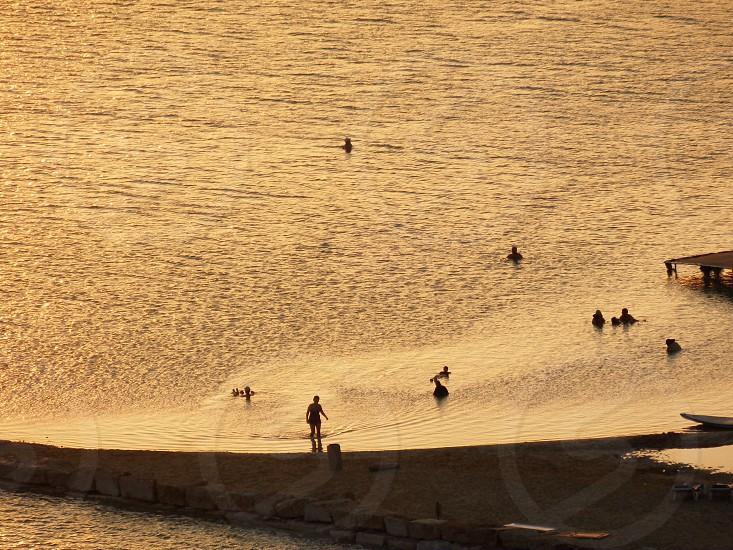people on beach view  photo