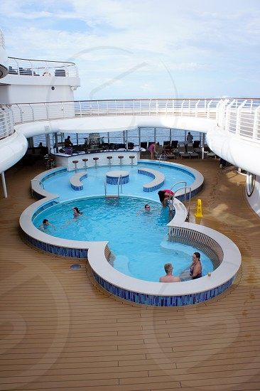 A pool on a cruise ship out at sea photo
