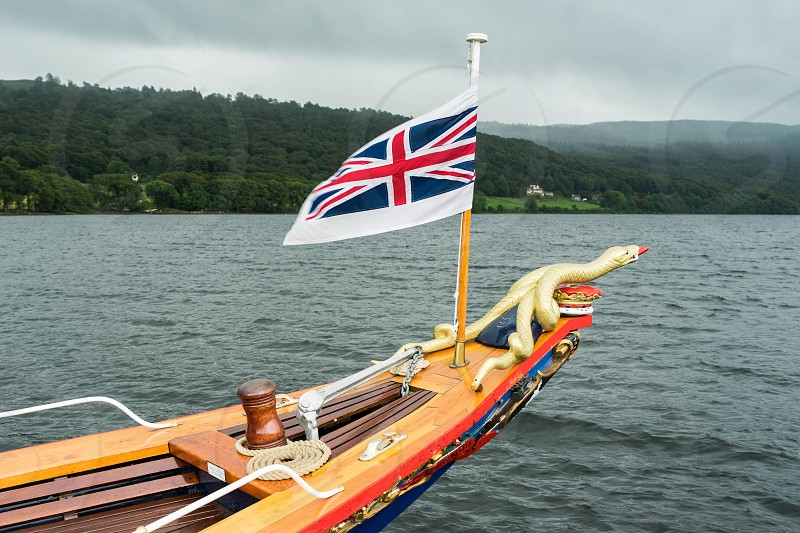 Union Jack Flying on the Steam Yacht Gondola on Coniston Water photo