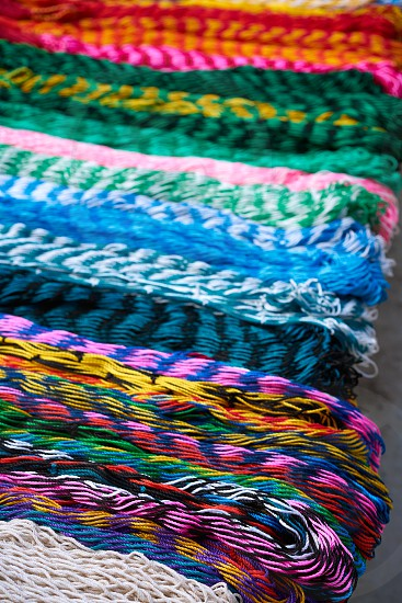 Chichen itza colorful hammocks in outdoor shop Mexico Yucatan photo