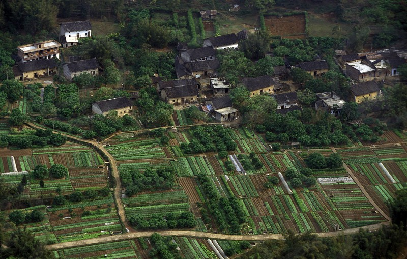 farmland near the town of Yangshou near the city of  Guilin in the Province of Guangxi in china in east asia.  photo