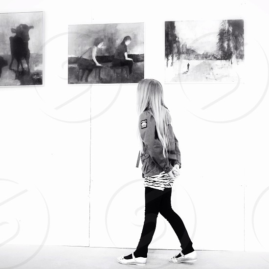 Art child girl black and white looking walking paintings photo