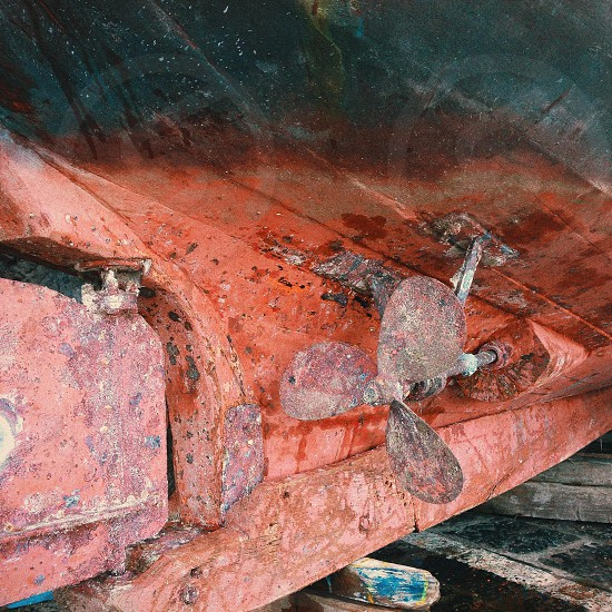 old rusty ship rotor  photo