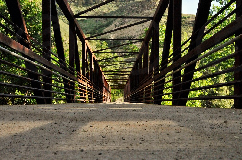view of the wooden railings bridge photo