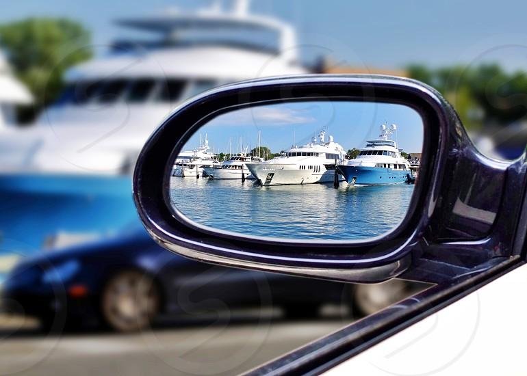 white boats reflection photo