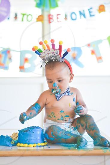 smash cake one year baby boy bowtie photo