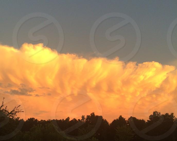 Sunset clouds orange sky photo