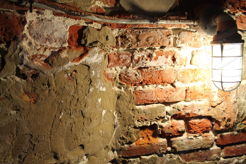 Brick wall with rustic light photo