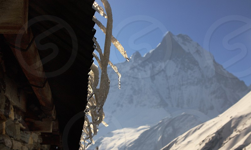 View from Annapurna Base Camp 4130m Machapuchare  6998 m . Himalayas Nepal photo