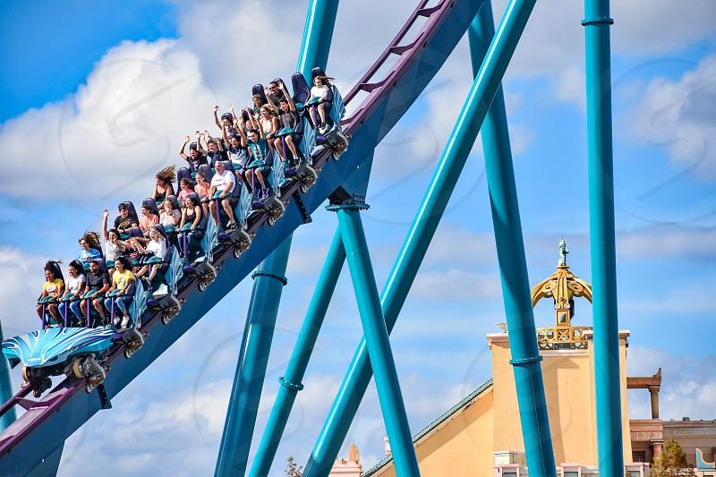 Orlando Florida. December 26 2018. People enjoying amazing rollercoaster ride at Seaworld in International Drive area (6) photo