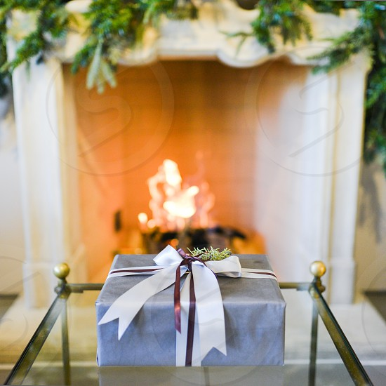 home holidays christmas warm cozy fire gift photo