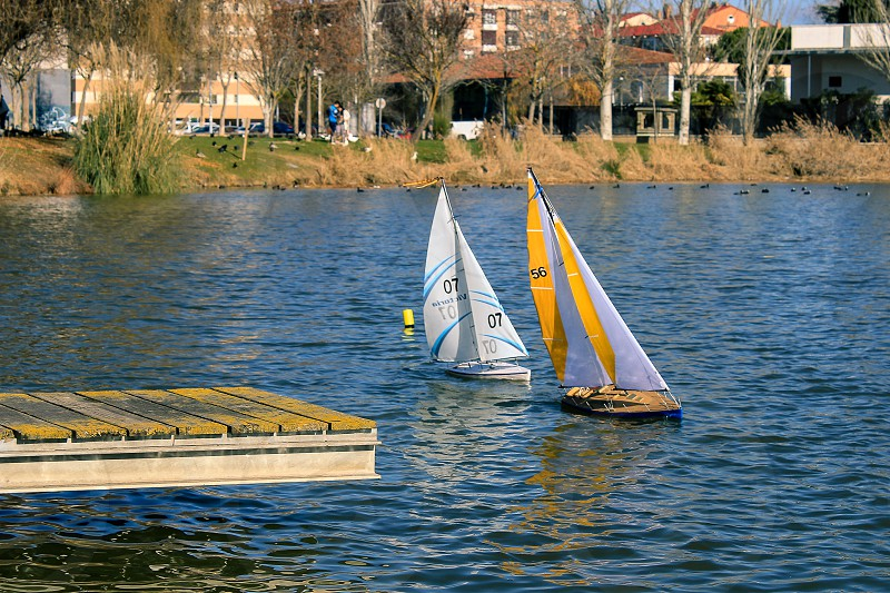 RC Boats in the lake. photo