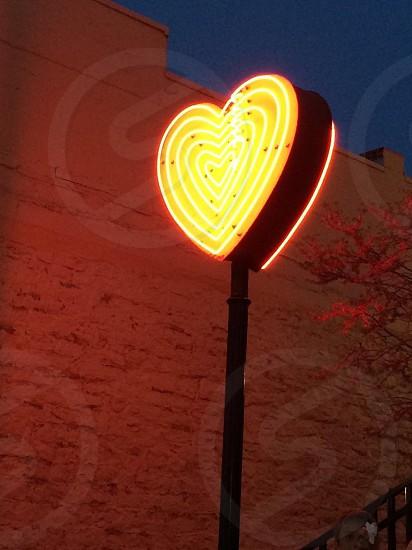 heart shaped light on tall pole photo