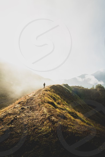 Mount Batur; Bali; Indonesia; Mountain; Volcano; Fog; mist; trek; hike; above the clouds photo