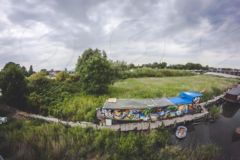 Street graffiti ship photo