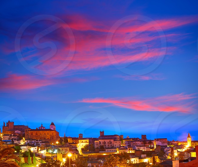 Caceres sunset skyline in Extremadura of Spain by Via de la Plata way photo