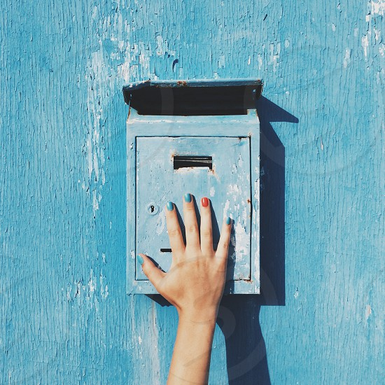 wall hand fingers nails blue Indigo manicure mail mailbox letter communication expectation hope texture photo