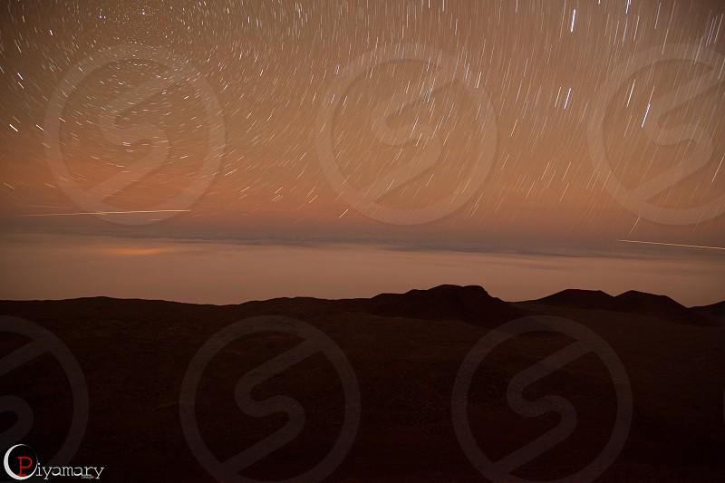 Time lapse on top Mauna Kea Big Island Hawaii. photo