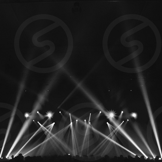 Concert lights black and white photo