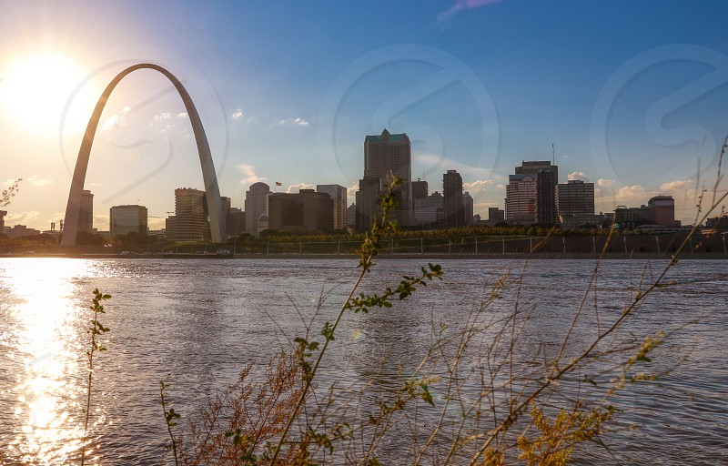 The St. Louis Missouri skyline across the Mississippi River. photo