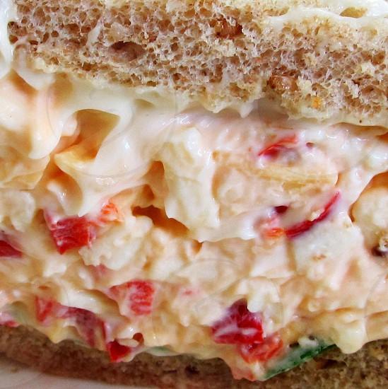 Pimento cheese on wheat bread closeup photo