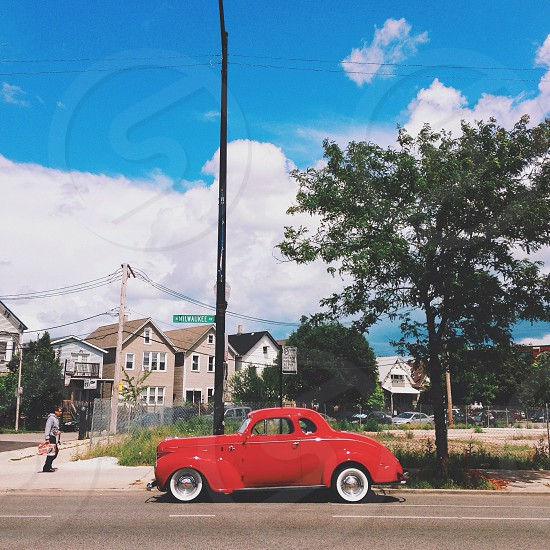 red coupe car photo