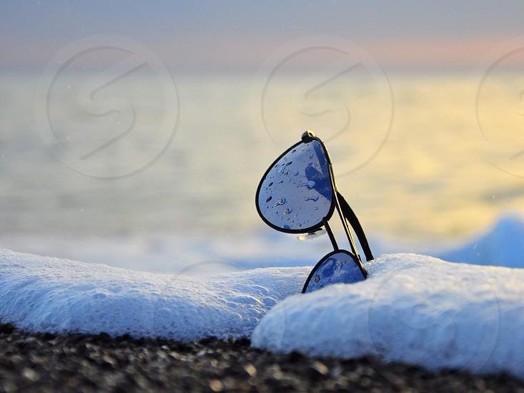 aviator gold and black sunglasses photo