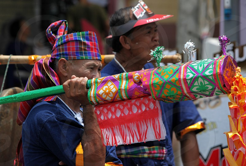 People at the Bun Bang Fai Festival or Rocket Festival in the City of Yasothon in the Region of Isan in Northeast Thailand in Thailand. photo