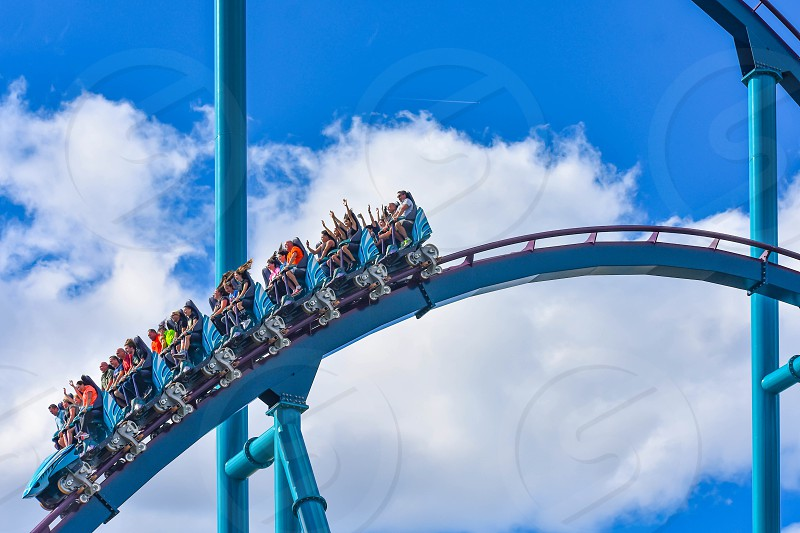 Orlando Florida. December 26 2018. People enjoying amazing rollercoaster ride at Seaworld in International Drive area (9) photo