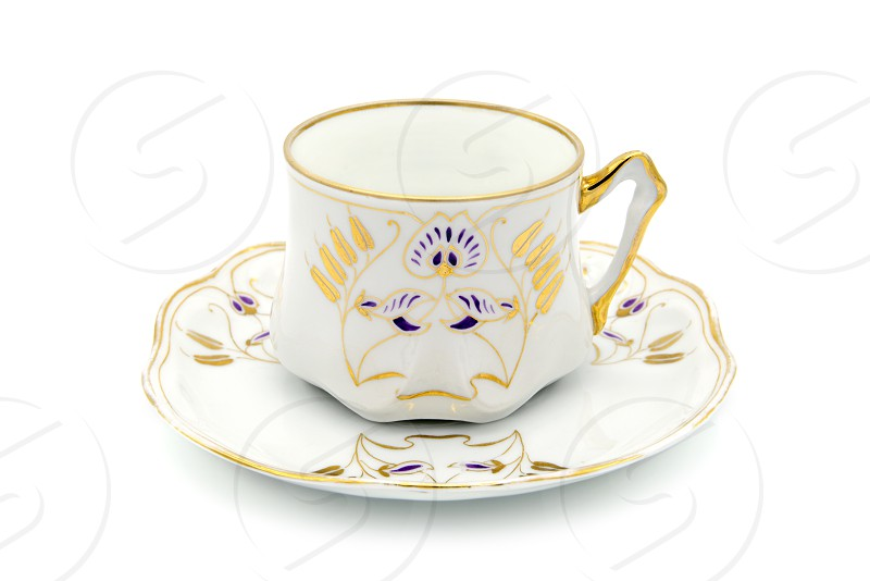 Art Nouveau time antique coffee cup on white isolated background. photo