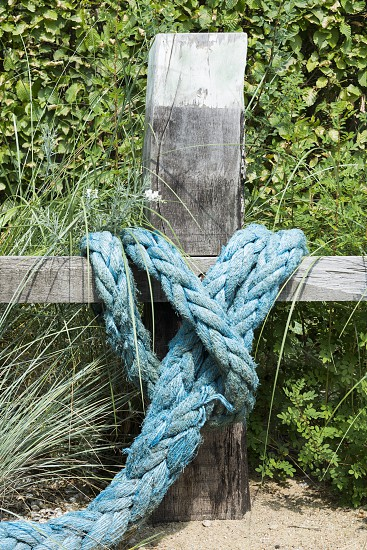 blue rope knotted wooden pole in garden photo