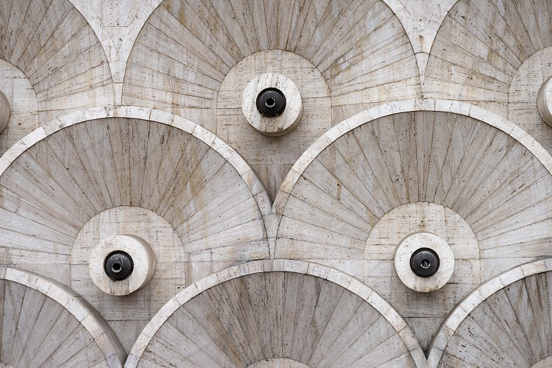 Round patterns at the Cascade stairway in Yerevan Armenia. photo
