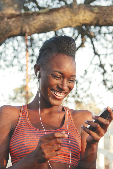 woman with white earphones photo