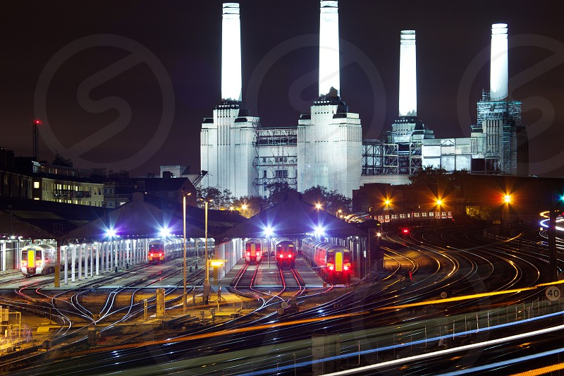 Battersea Power Station at night photo