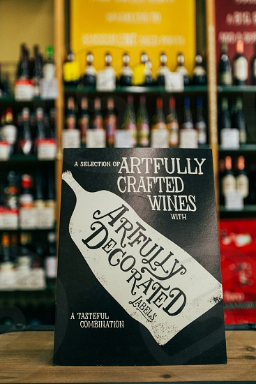 artfully decorated labels a selection of artfully crafted wines photo