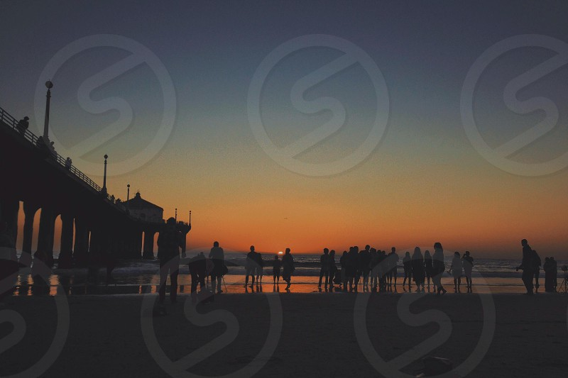 silhouette of people on the beach photo