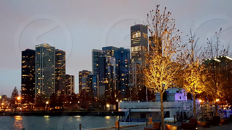 Evening in the city. Chicago Illinois photo