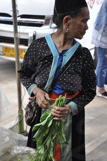 Fresh market vendor  selling produce  Thailand grandmotherelderfarmers marketChiangmai  photo