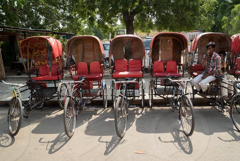 Pedicab、Red、Jaipur、India photo