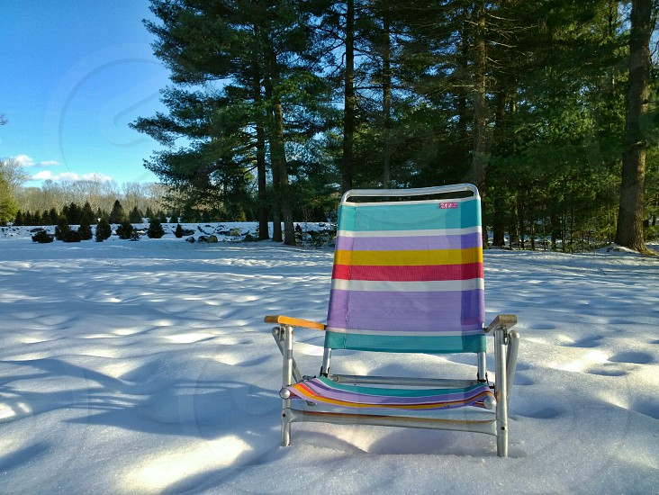 multicolored beach chair photo