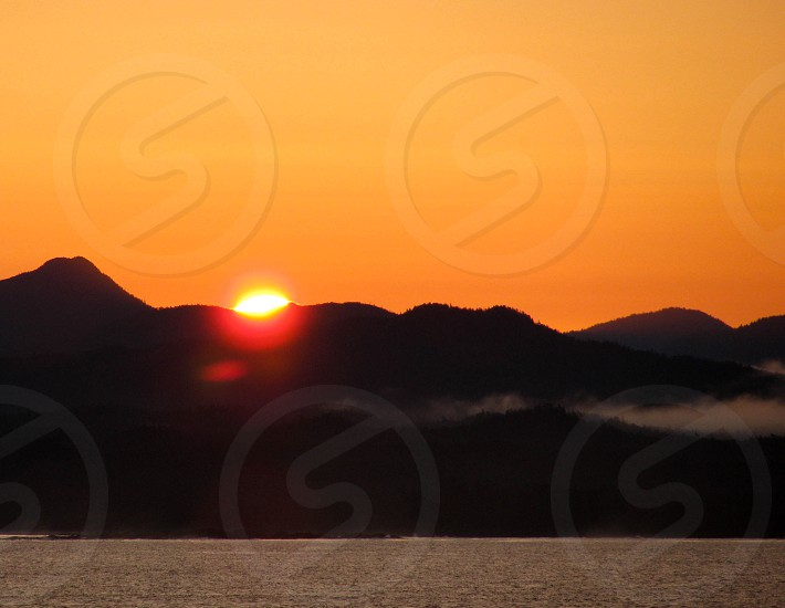 sunset view in the mountain photo