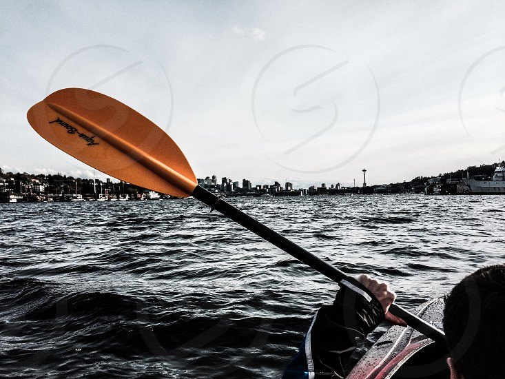 City lake kayak Seattle point of view  photo