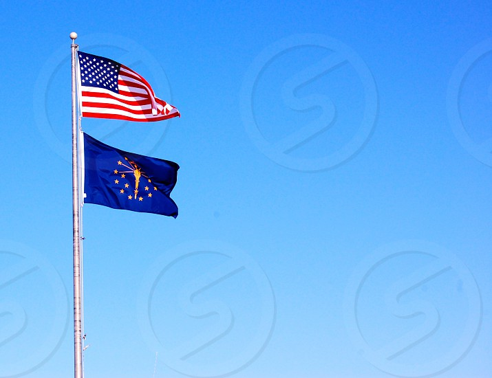 Indiana and American flags photo