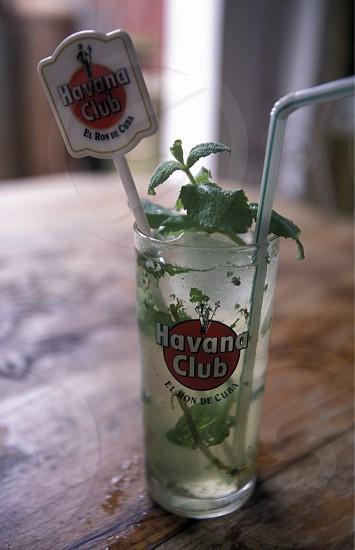 a mojito drink in the Bar La Bodeguita del medio in the city of Havana on Cuba in the caribbean sea. photo