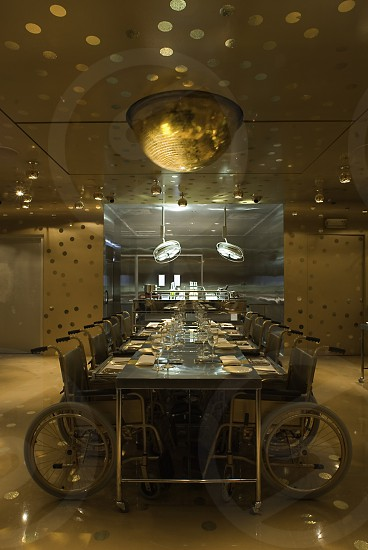 Ultra modern interior of a restaurant celebrating handicapt life in total bling fashion photo