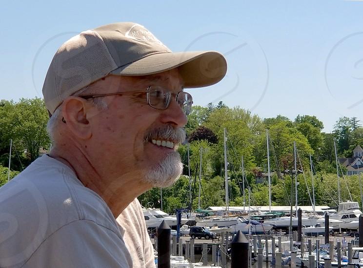 Self portrait - Admiring boats at the marina at Atlantic Highlands New Jersey USA photo
