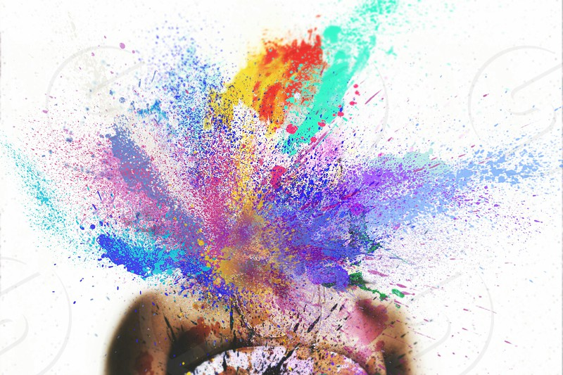 Paint splatter paint abstract art surreal surrealism manipulated headless colorful colors rainbow  photo