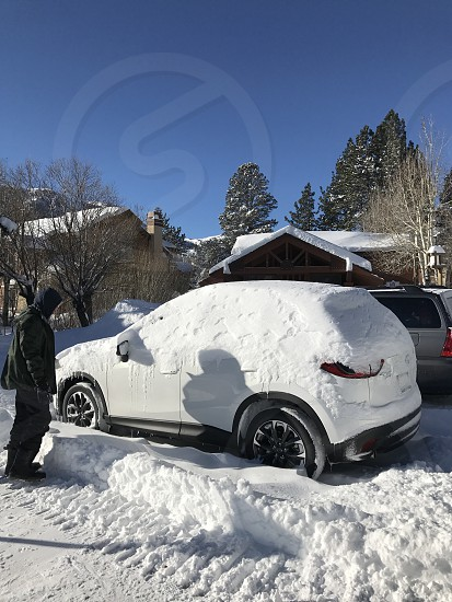 Man snow car winter photo