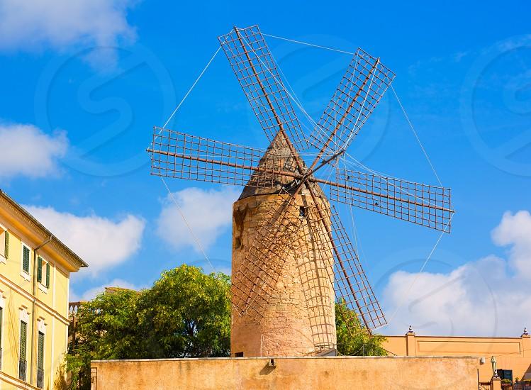 Palma de Majorca windmills wind mill in Mallorca Balearic islands Spain photo