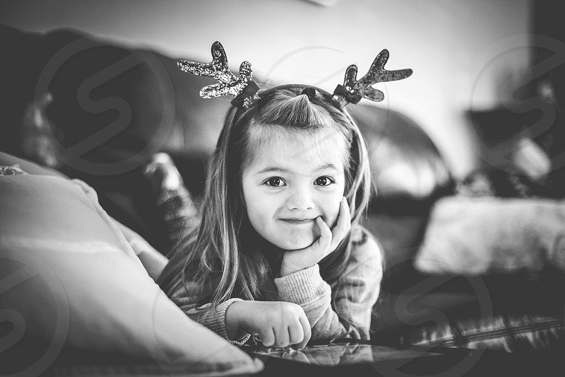 holidays girl child christmas black and white reindeer photo